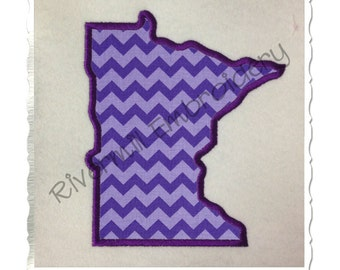 State of Minnesota Applique Machine Embroidery Design - 4 Sizes