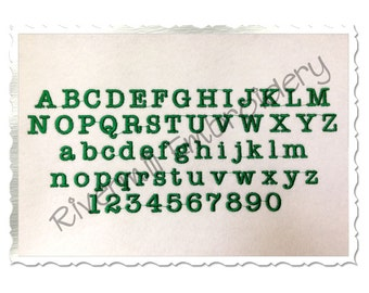"Small Mini Typewriter Machine Embroidery Font Alphabet - 1/2"" & 3/4"" Sizes"