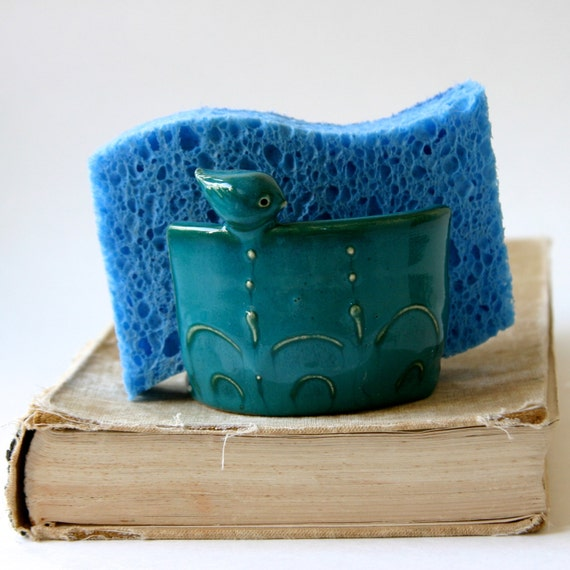 Tiny Bird Kitchen Sponge Holder - Shabby Chic Home Decor - Turquoise Teal - Ready to Ship