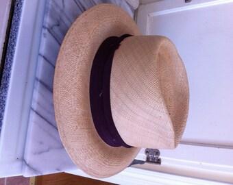 Vintage Mens Small Panama Mallory Hat