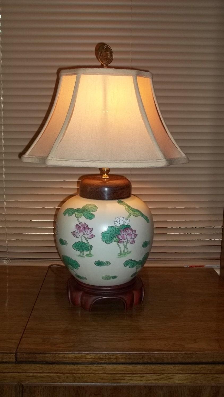 vintage oriental ginger jar style lamp. Black Bedroom Furniture Sets. Home Design Ideas