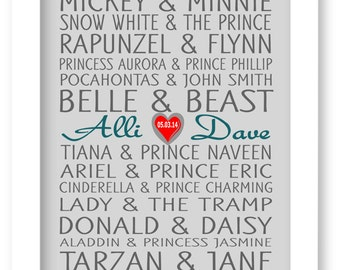 Disney Famous Couples Print, Couples Art, Personalized Couples Gift, Custom Wedding Gift, Bridal Shower Gift