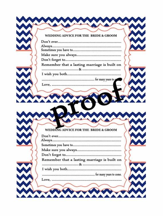wedding advice cards chevron printable bridal shower wedding