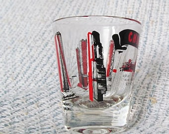 Chicago Shot Glass Sears Tower Standard Oil Building Red Black Bar Barwar Chicago Souvenir