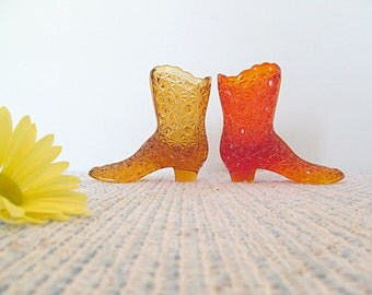 Amber and Orange Glass Boot Vase Vessel Pair Collectable Daisy Button Pattern Retro Vintage Cottage Chic Home Decor Boots