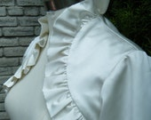 Super Sample Sale Ivory Silk-like satin, elbow length sleeves with ruffle details