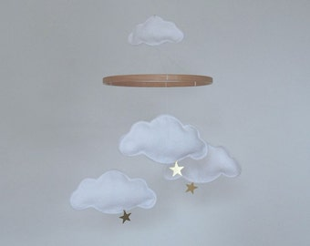 Cloud and Star Baby Crib Mobile - White with Gold or Silver Stars