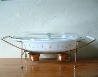 Pyrex Constellation Divided Casserole Dish with Lid and Candle Warmer Stand Atomic Star