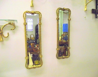 2 Hollywood Regency Gold Wall Mirrors Beveled & Twisted Rope