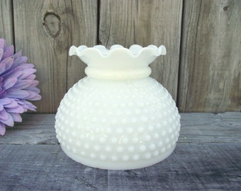 """Antique MILK GLASS Fenton Hobnail Parlor Lamp SHADE - for 6"""" fitter - Replacement - Ruffled Fluted Top Style #1 - More available"""