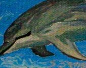 "Bottle Nose Dolphin Mini 2""x3"" cute painting acrylic on canvas. Mothers Day Gift. Hawaiian Dolphin. Mini Painting. Fine Art. Seascape. Ocean"