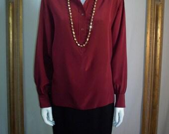 Vintage 1980's Valentino Burgundy Silk Blouse - Size 12