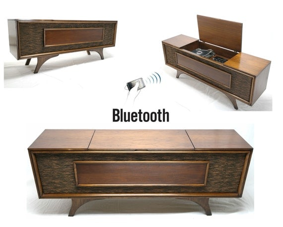 Vintage Mid Century Modern Hi Fi Stereo Console Bluetooth Am