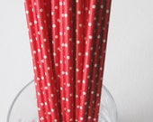 10 Paper Red with White Polka Dot Drinking Straws - Free Printable Straw Flags