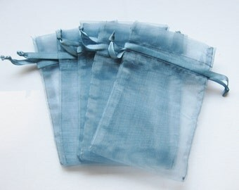 Set of 10 Smoke Blue Organza Bags (5x8)