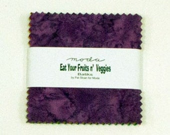 """Moda Charm pack EAT your FRUIT & veggies BATIKS 40 5"""" squares cotton fabric- hand dyed by Moda"""