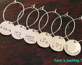 Wine Charms Personalized Custom Hashtags - Wedding Shower Party Favors Hostess Gift Decor