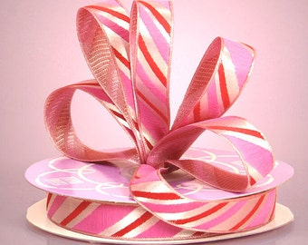 """Adorable! 5yds,18"""" x 5/8""""wide  Pink & Red """"CANDY CANE"""" Woven Satin Ribbon"""