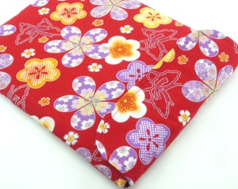 SALE LAST ONE Accessory For iPad Sleeve - Cute iPad Case - Kimono iPad Cover Japanese Cotton Fabric butterfly & plum blossoms red