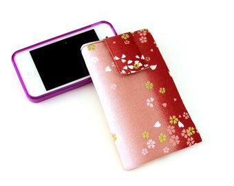 SALE iPhone 5C Sleeve, Gift Idea Under 15, Cell Phone Case, Kimono Cotton Fabric Cherry Blossoms Gradation Red