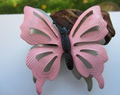 Cute Pink Metal 3D Butterfly Brooch