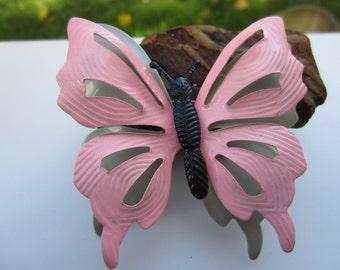 Cute Pink Metal 3D Butterfly Brooch
