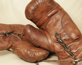Old leather boxing gloves  - Handmade in England