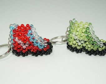 Shoes Keychain Beaded, Beaded Boots, Bead Sneakers, Red Blue Green Boots, Cute Beaded Shoes, Bead Boots, Beaded Keychain Boots, MIni Boots