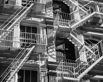 New York City Architecture Fire Escape Black and White Art Print Soho NYC Photography Urban Industrial Home Decor Abstract Shadows Print
