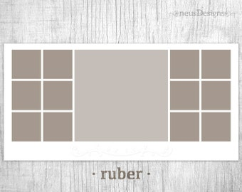 Photo Collage Template || 10x20 Ruber Storyboard for photographers (13 pictures)