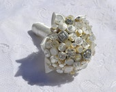 Ivory Button Bouquet - Simply Chic Alternative Wedding Bridal Bouquet