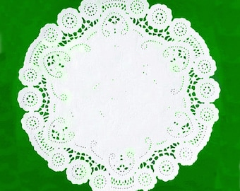 50 white 8 inch doilies, French paper doilies, wedding supply, party supply, paper craft