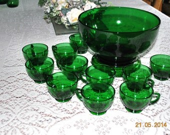 Vintage Forest Green Punch Bowl  with Base & 12 Cups