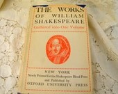 The Works of William Shakespeare Gathered into one Volume vintage 1938 edition with dust cover