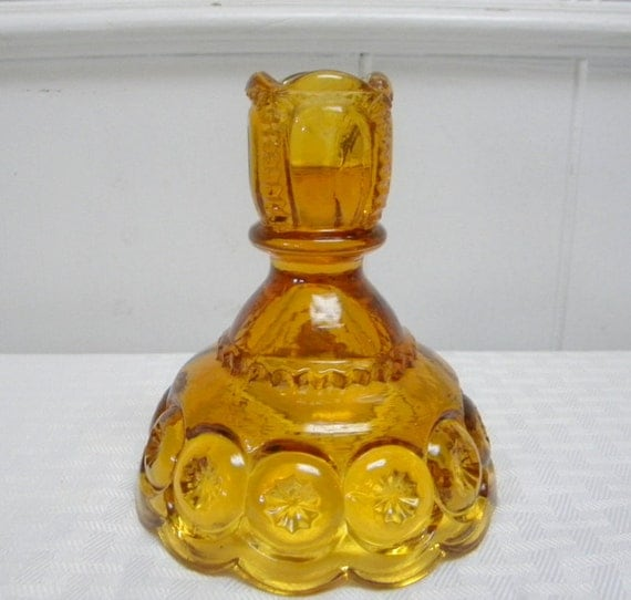 Moon and Stars amber candlestick Smith Glass