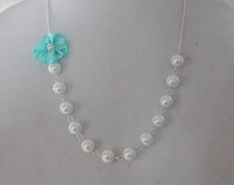 White Pearl and Robins Egg Blue Flower Necklace