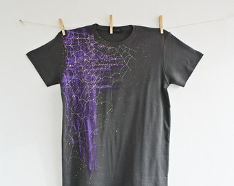 Men Tshirt Hand Painted Dark Grey Purple Silver Neon Green Size M Spider Web