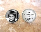 Father of the Groom Cuff Links - Custom Photo Cufflinks - Dad a son's first Hero Cuff Links Personalized Wedding Picture Cuff Links