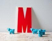 Letter M - Red Marquee Letter - Vintage Letter M Vintage Marquee Letter M Hard Red Plastic M Sign Gas Station Advertisement