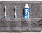 Travel Toothbrush Roll, Toiletry Roll, Travel Roll,  in Metal Grey, Gift Under 10, free shipping