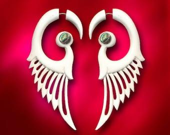 Valerie's Wings, Fake Gauge, Organic, Bone Earrings with Pearl Inlay, Split Expanser, Handmade, Cheaters, Plug, Tribal - B26