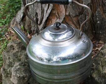 Vintage Antique Rochester Kettle Water Tea Chrome / Copper