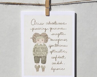 Aries boy card Astrology card Zodiac card Astrological sign card