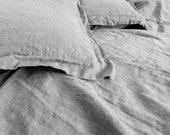 Pillow sham case Oxford Taupe Gray color pure Linen Flax - Washed Softened Medium weight - Standard Queen King Euro - All size
