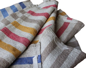 Huckaback Medium Stripe BasketWeave 100% Linen Flax Towel Rustic Country Dishcloth Kitchen Food Cover Heavy Hand towel Colorful and Stylish