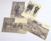 Vintage French Military Post Cards, Five Postcards Depicting Images of WWI, Old Black and White Postcard