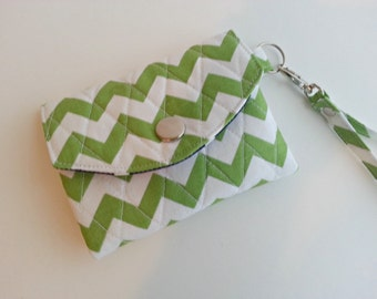 ID Wallet Key Chain quilted in Green and White Chevron