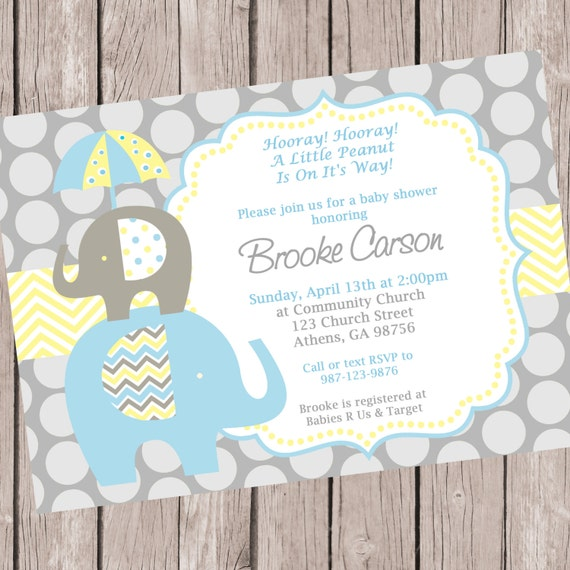 Elephant Invitation Elephant Shower Invitation Elephant Baby Shower