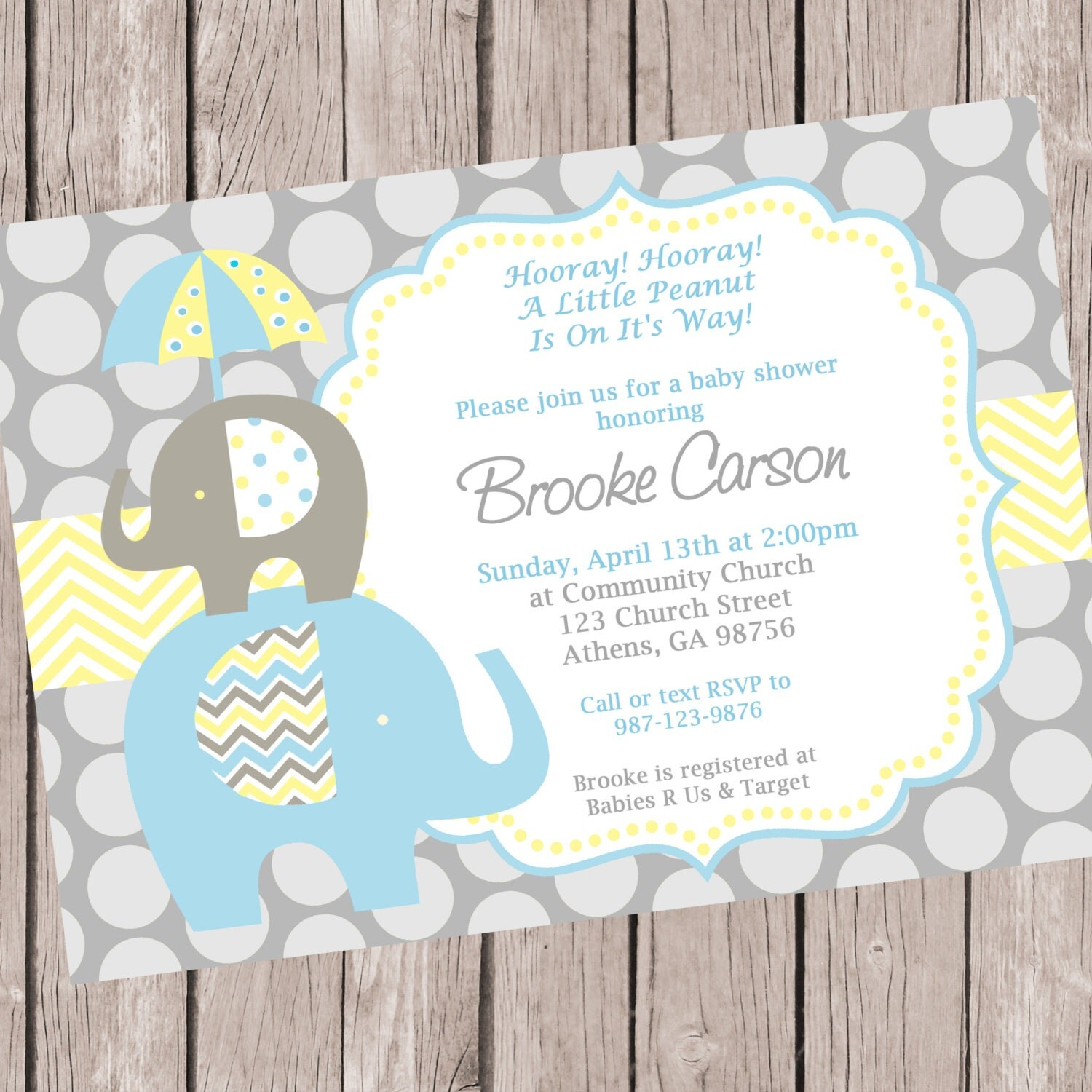 baby blue and yellow elephant baby shower invitation