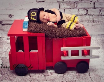 FREE SHIPPING Fire Truck Photo Prop Newborn FIre Truck Photo Prop FIre Truck Prop